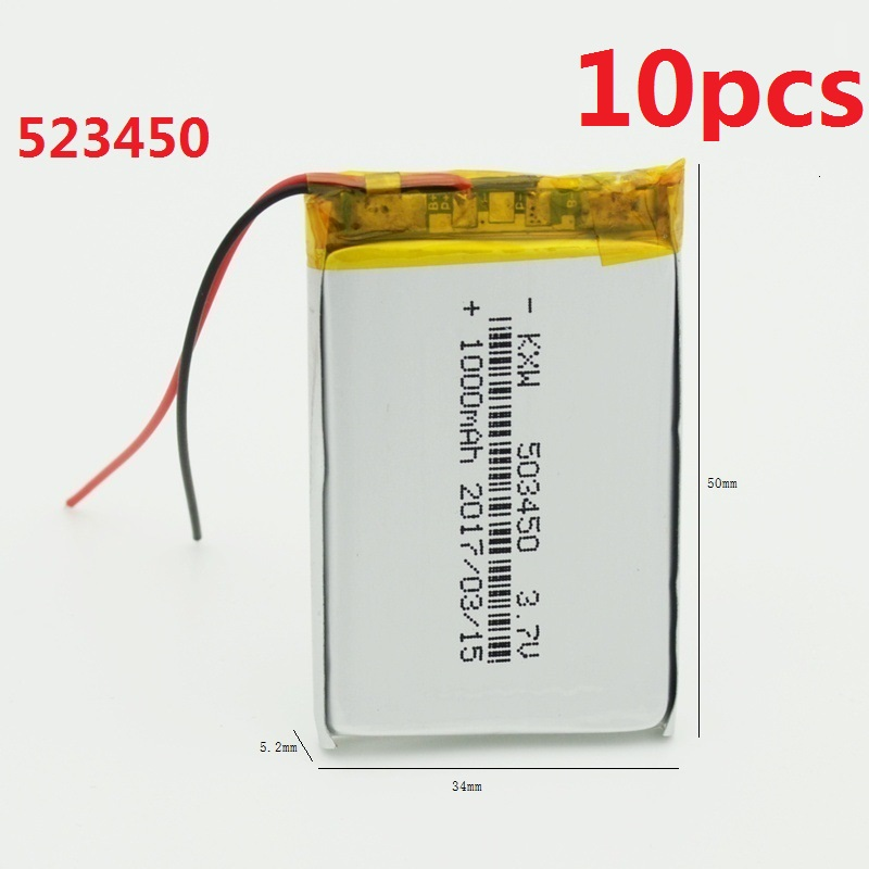 10Pcs 1000mAh 523450 Battery 503450 Li-po Rechargeable Batteries 3.7V for GPS MP4 Cell Phone Speaker DVR A-CLASS MP3 Wholesale