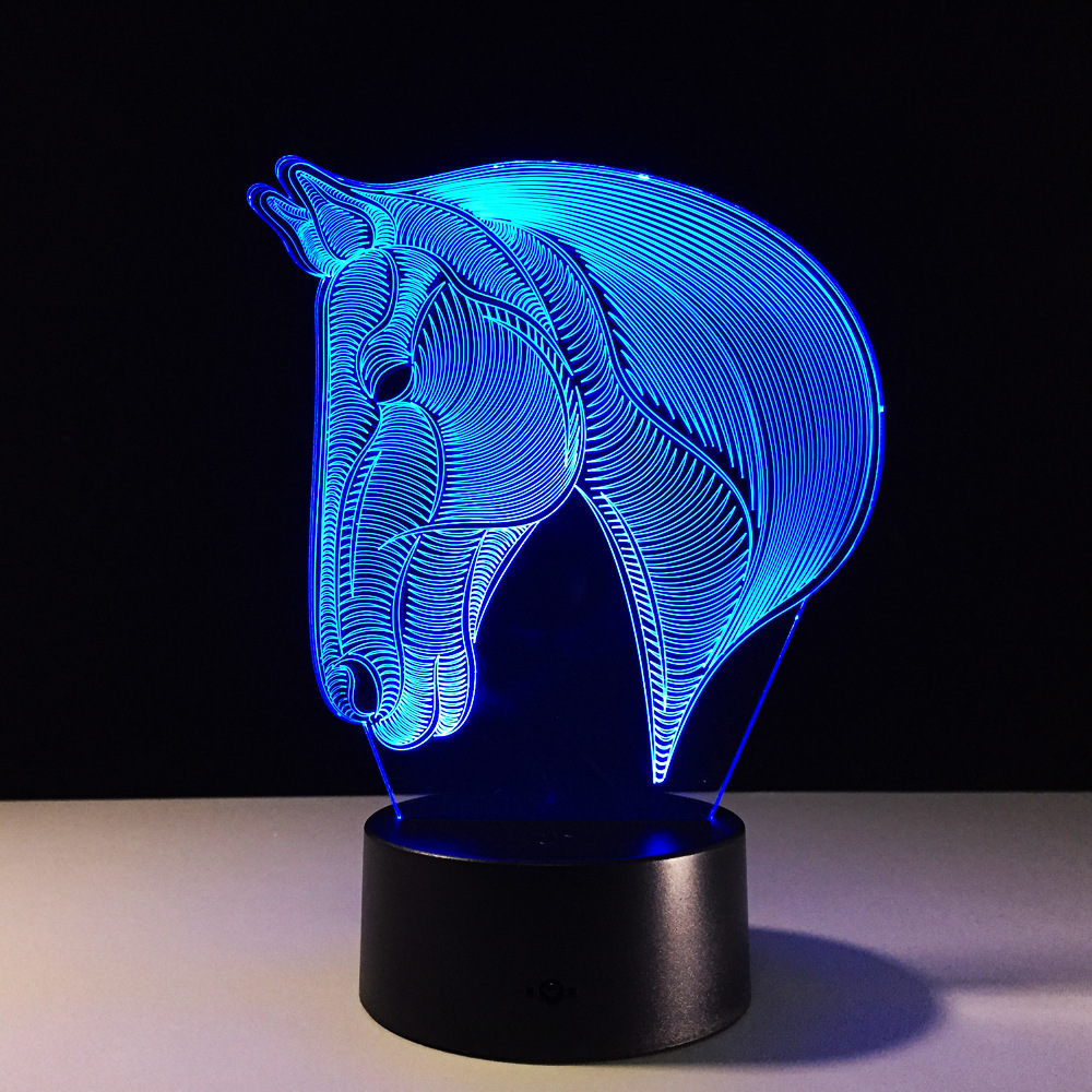 Led Table Lamps Constructive Horse 3d Lamp Baby 7 Color Change Night Light Acrylic Remote Touch Switch Toilet Desk Lamp Usb Energy Saving Table Lamps Jade White Lights & Lighting