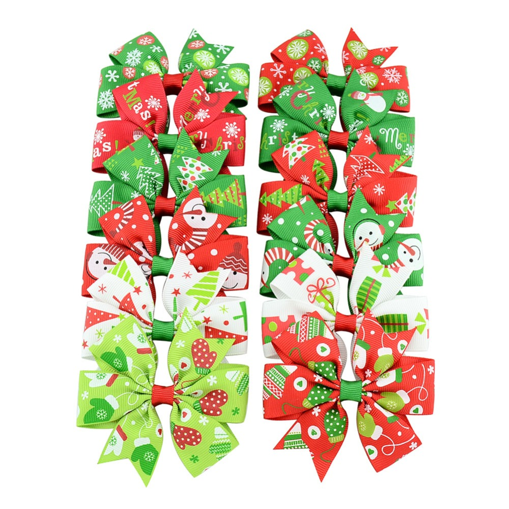 Be best hair accessories for baby - 12pcs Los Christmas Snowflake Hair Bow Clips Baby Girl Hair Clips Boutique Bow Clip For Women Hair Accessories Best Holiday Gift