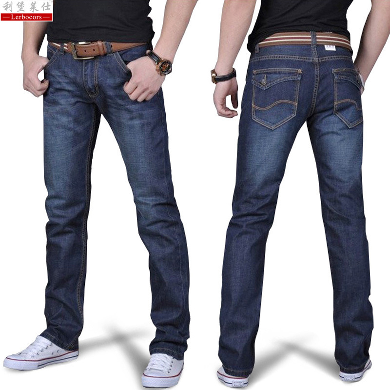 Lerbocors 2018 Cotton Slim Straight Business Casual Thin Men Jeans ...