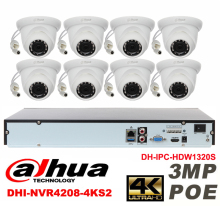 Dahua original 8CH 3MP H2.64 DH-IPC-HDW1320S 8pcs CCTV Network camera POE DAHUA DHI-NVR4208-4KS2 Dome IP security camera kit