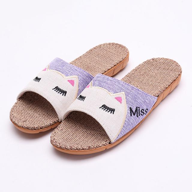 Slippers Rabbit Cat Summer Flax Slippers Women Men Beach Sandals