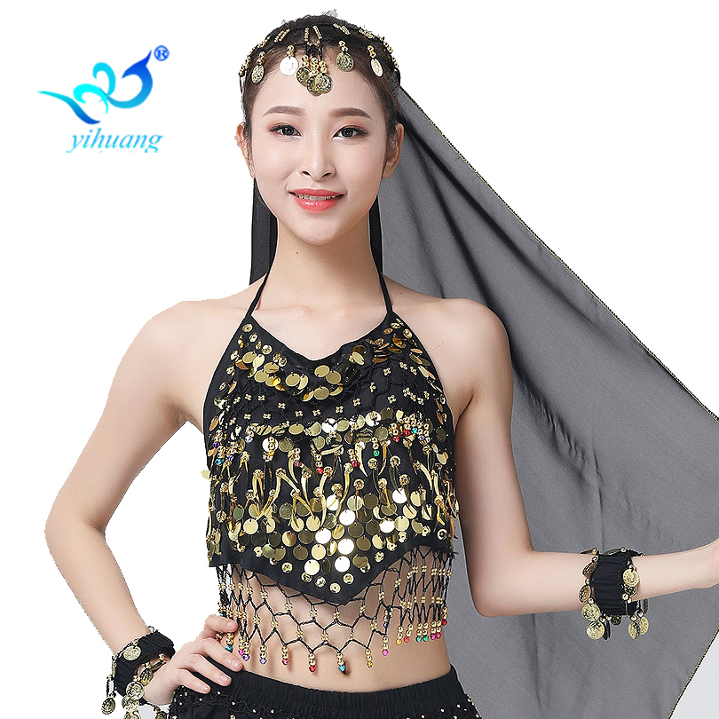 Belly Dancing Costume Bra India Dance Tops Carnival Performance Outfits Stage Show Bellydance Blouses Chiffon Halter 12 Colors