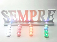 12x45cm LED Luminous Artificial Wood Wooden White Letter SEMPRE Of Birthday Party Bridal Gift Used For