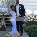 Africano branco Prom Vestidos O neck Backless Cetim Manga Longa Até O Chão comprimento do Laço Do Ouro Sereia Longo Vestido de Baile para a Menina Preta 2017