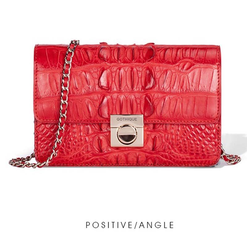 gete 2019 new New crocodile leather clutch for ladies Thai leather shoulder bag dinner bag chain lock clutch for ladies gete 2019 new New crocodile leather clutch for ladies Thai leather shoulder bag dinner bag chain lock clutch for ladies