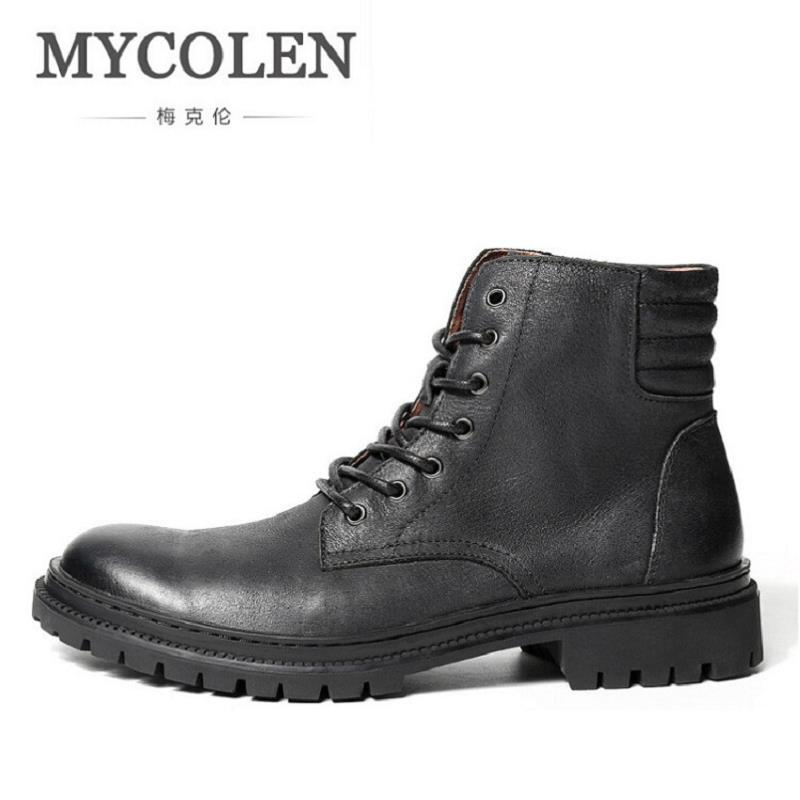 MYCOLEN Brand Genuine Leather Mid-Calf Winter Work Men Boots Round Toe Lace-Up Solid Safety Boots For Men Botas Masculino stylish women s mid calf boots with solid color and fringe design