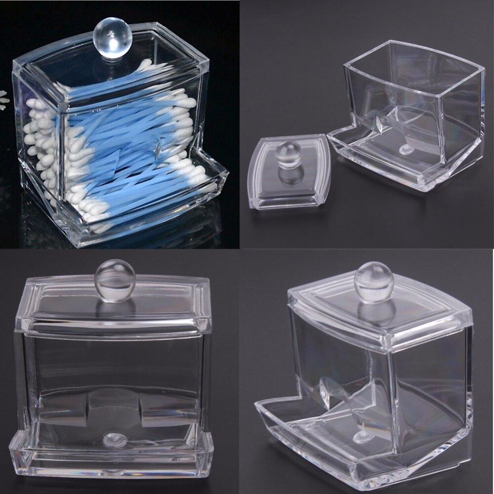 Fashion Clear Acrylic Nail Art Makeup Cotton Pads Swabs Q-tip Storage  Holder Box Transparent