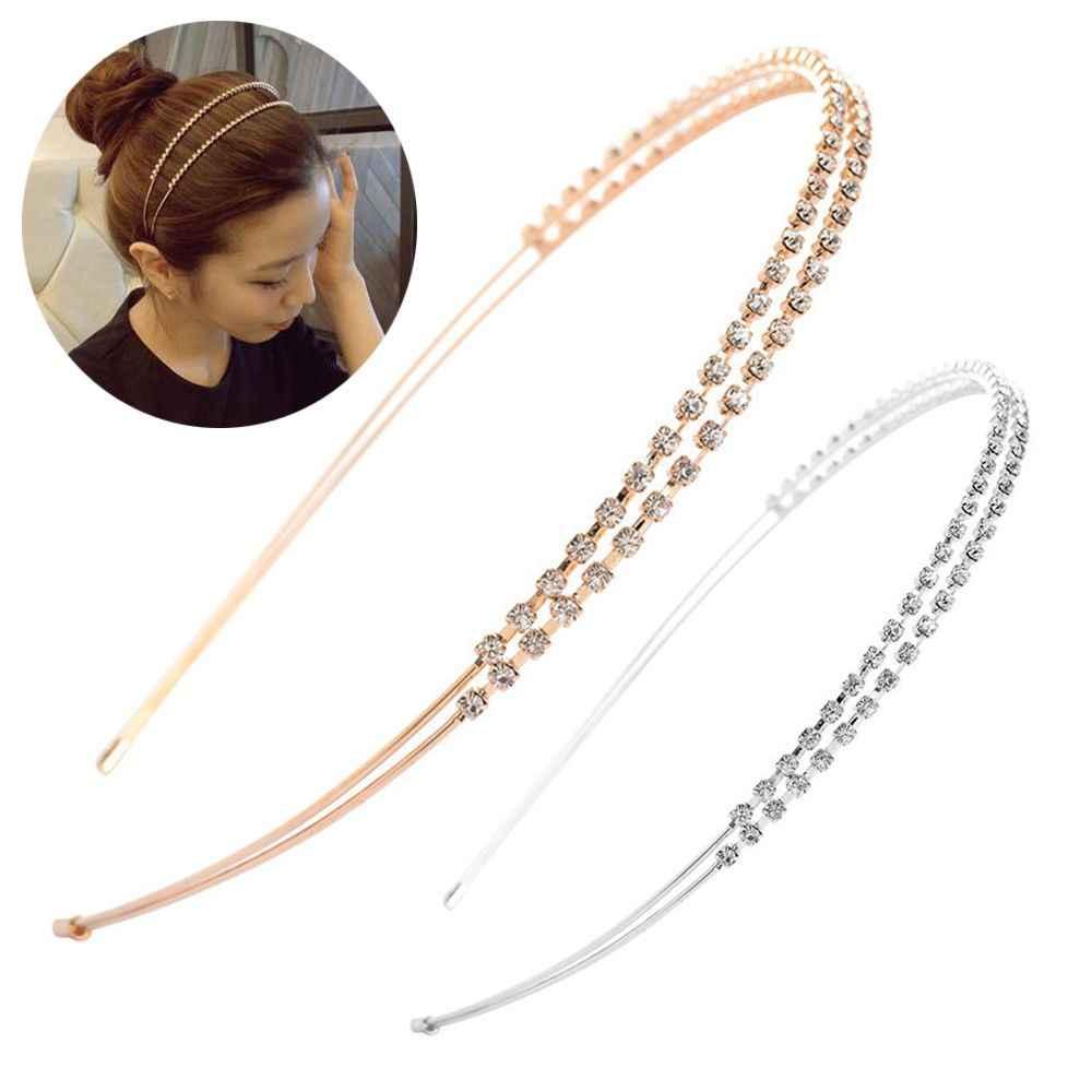 1PC Fashion Gorgeous Crystal Rhinestone Headband Gold Silver Hairband Hair Hoop
