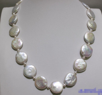 >>> >>> White 3mm round & 17 19mm coin fresh water pearl necklace 17.5INCH
