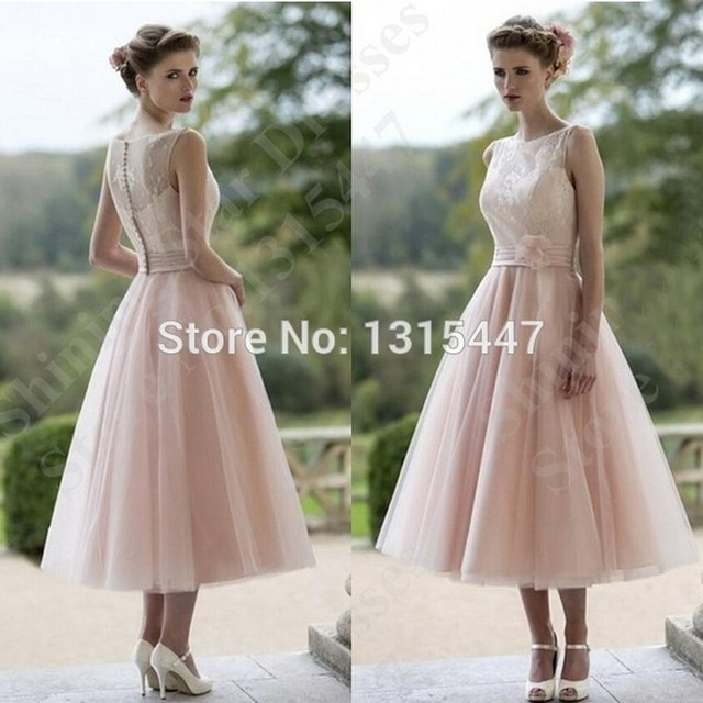 A Line Short Wedding Dresses Blush Pink Tulle Gowns Tea Length Boat Neck Bridal Dress