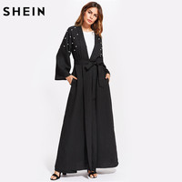 SHEIN Pearl Embellished Self Belt Abaya Fall 2017 Fashion Long Sleeve Maxi Dress Black Autumn New