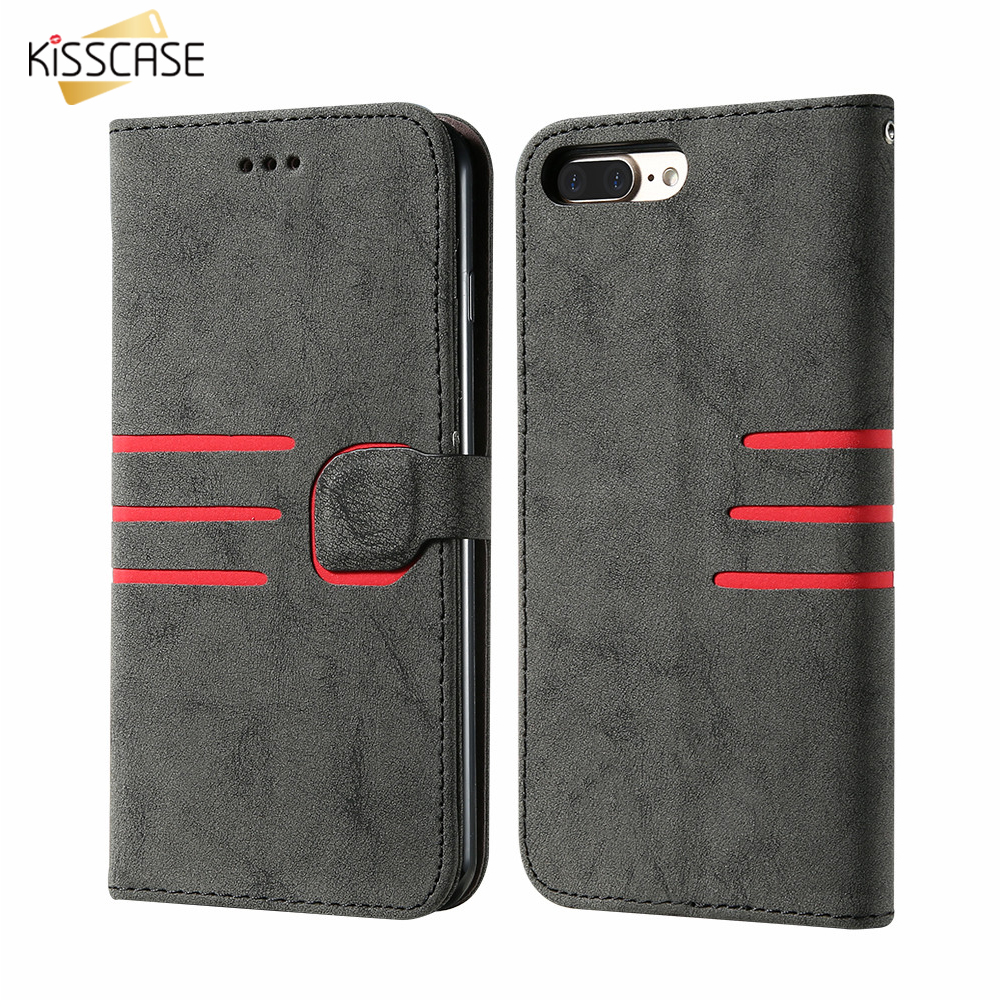 KISSCASE Matte Flip Leather Case Para iPhone 6 6s Phone Case Card Carteira coldre Magnetic Buckle Covers Para iPhone 7 8 Plus Case