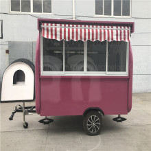 Ice Cream Food Carts Pink Food Trucks China Concession Trailers 3.8M Mobile Kitchen Snack Street Food Vending Cart
