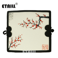 ETAILL Chinese National Style Retro Women Wallet Plum Hand Painted Cotton Fabric Clutch Canvas Card Money