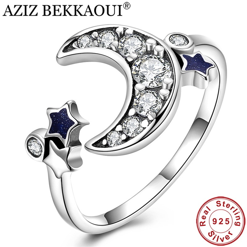 Crystal Rings Sterling-Silver Wedding-Jewelry Moon Women Star for AZIZ BEKKAOUI CZ Dazzling