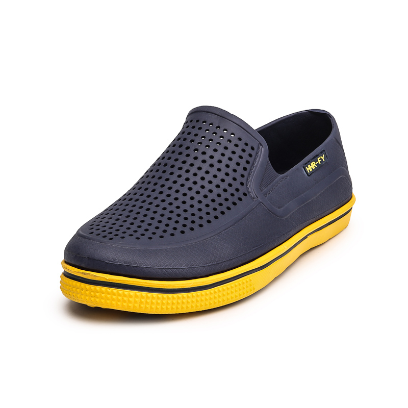 2018 New Arrivals Men Croc Shoes Summer Shoes Hollow Slip on Breathable Platform Flat Leisure Walking Shoes Thick Creepers