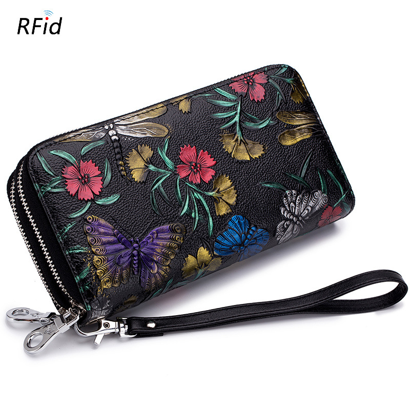 Westcreek Brand RFID Women Long Flower Leather Wallets Casual Double Zipper Female Card Holder Lady Wristband Clutch Coin Purse
