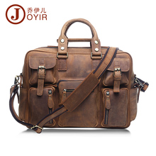 JOYIR Large Vintage Genuine Leather men Luggage Travel Bags Retro Muti Pockets Handbag Crossbody Bags Shoulder Bag For Man 6025