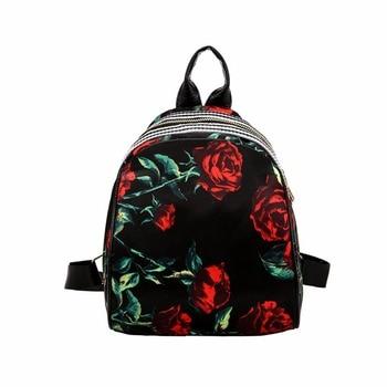 Women Leather Backpack Flower Floral Backpacks For Teenage Girls Small Printing Backpack Female Schoolbag Rucksacks For Girls