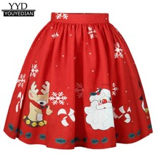 dd84e9a509 (Ship from US) 2017 New Arrival Christmas Women's Sexy Skirt Santa  Snowflake Printed A-Line Skirts For Women Vestidos Mujder #1125
