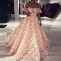 Pink Evening Dresses 2019 Lace Ball Gown Sweetheart Islamic Dubai Saudi Arabic Long Elegant Arabic Evening Dress Robe Soiree