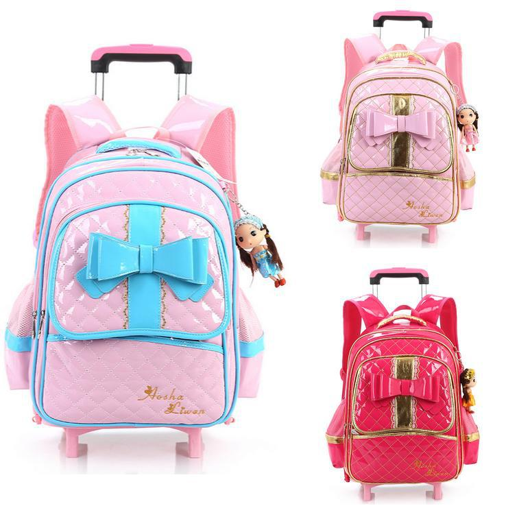 ФОТО PU Leather Comfortable Mochila Rodinha Infantil Escolar Girls Children School Backpack With Wheels Mochila Escolar Com Rodinhas