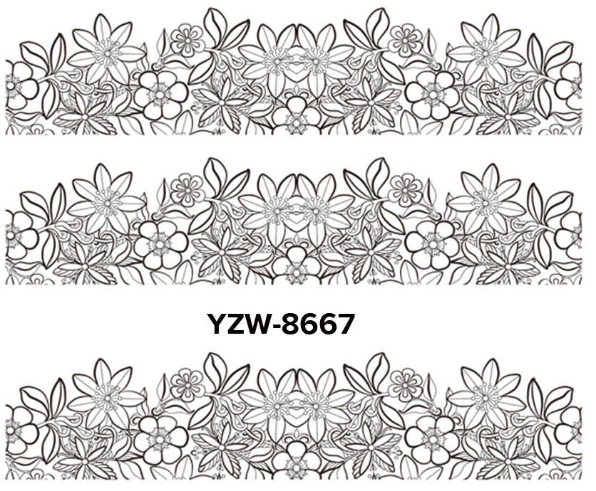 WUF 1 Sheet Optional Black Lace Flower Designs Nail Art Water Decals Transfer Sticker For Nails