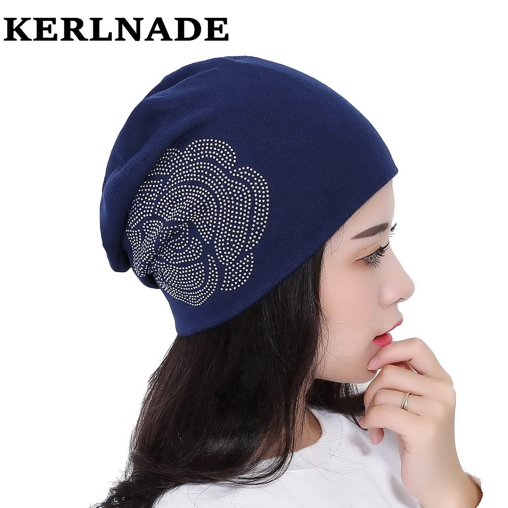 women beauty rose floral beanies luxury skullies hat custom design colorful casual girl brand beanie outdoor winter hats gorros wholesale boy girl floral beauty skullies colored rhinestone flower style luxury winter hats for children 3 12 year kid beanies