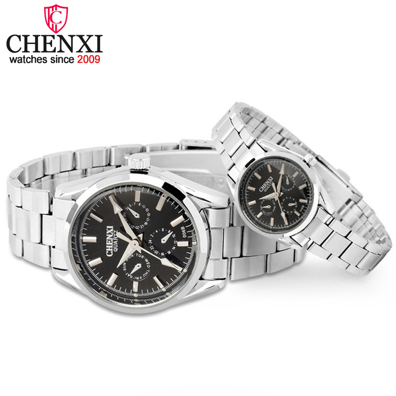 CHENXI Brand Luxury Quartz WristWatch 3 Small Decoration Dial Lover Couple Watches Silver Stainless Steel Men and Women Watches chenxi brand fashion classic hot square dial couple lovers quartz wristwatch delicate luxury steel strap men watch women watches