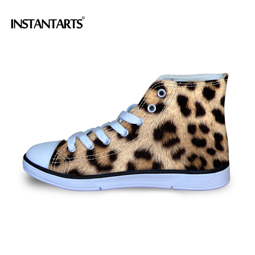 INSTANTARTS Kids Classic Vulcanize High Top Shoes Fashion Leopard Casual Canvas Shoes 3D Animal Print Teen Girl Lacing Sneakers goowiiz темно синий oppo r11 plus
