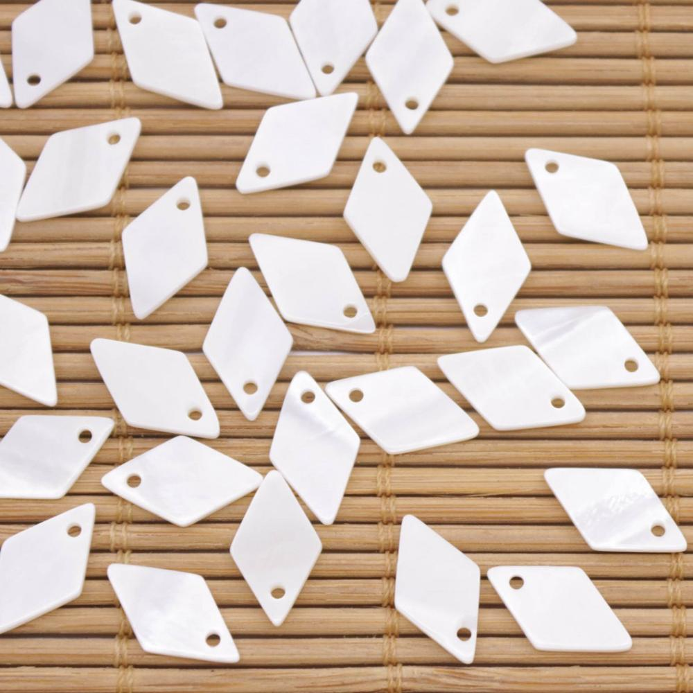 Купить с кэшбэком 50 PCS Rhombus Shell Natural White Mother of Pearl Charms Pendants 8mmx14mm