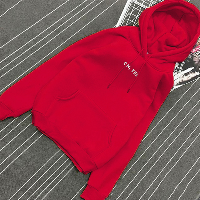 Oh Yes Letter Harajuku Casual Coat Two Layers Hat 2018 Winter Fleece Pullover Thick Loose Women Hoodies Sweatshirt Female