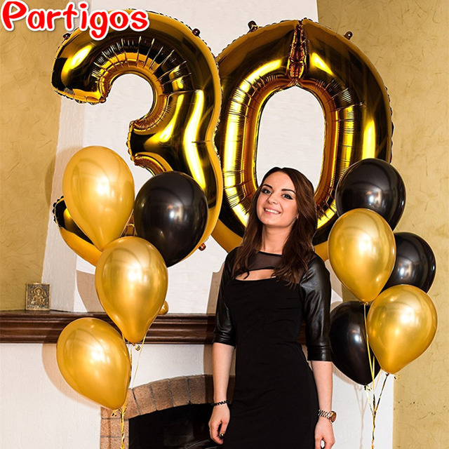 12pcs Lot 40 Inch Number Foil Helium Balloons 12inch Latex Globos Anniversary Adults 30th Birthday