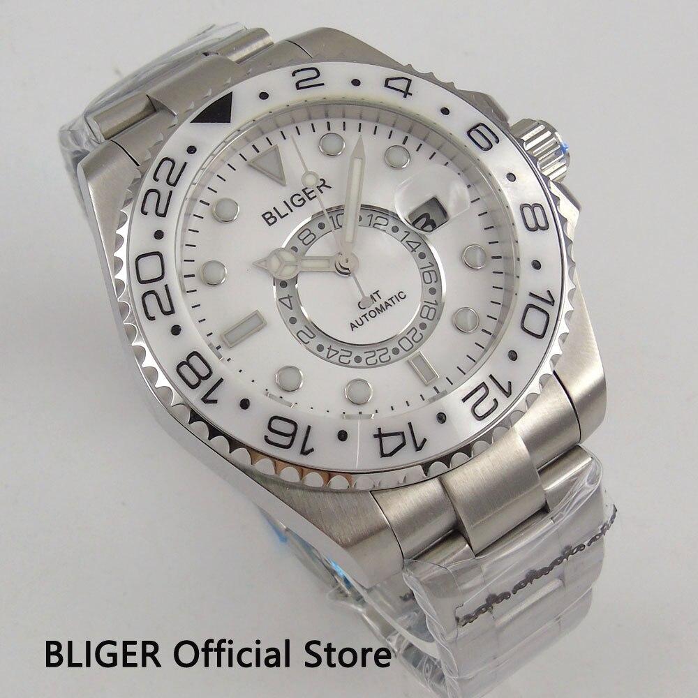 Saatler'ten Mekanik Saatler'de 43 MM BLIGER Beyaz Kadran Safir Cam GMT Ekran erkek saati Seramik Çerçeve Tarih relojes hombre 2018 Otomatik hareket saatleri'da  Grup 3