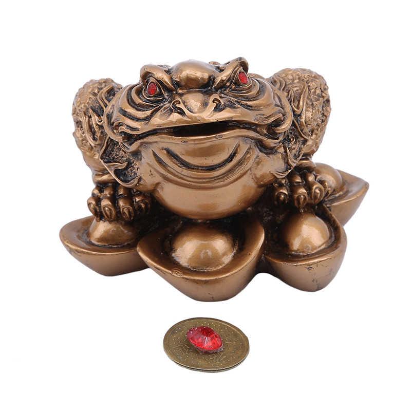 Figuritas grandes de rana de la suerte lingote rana de tres patas Feng Shui tienda de muebles apertura hogar Oficina Decoración adornos de mesa