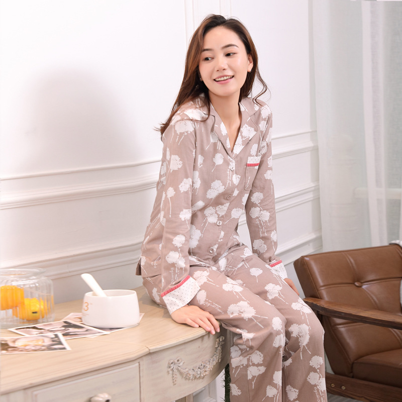 New Nightgown Girl Cotton Printing Pajamas Simple Long-sleeved Trousers Pyjamas Spring Turn-down Collar Home Clothes Sleepwear