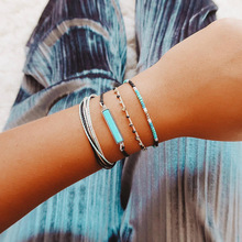 цена на 2019 Bohemian Colorful Retro Beaded Rope Hand Woven Bracelet Set Women Fashion Chic Bracelet Party Wedding Jewelry Accessories