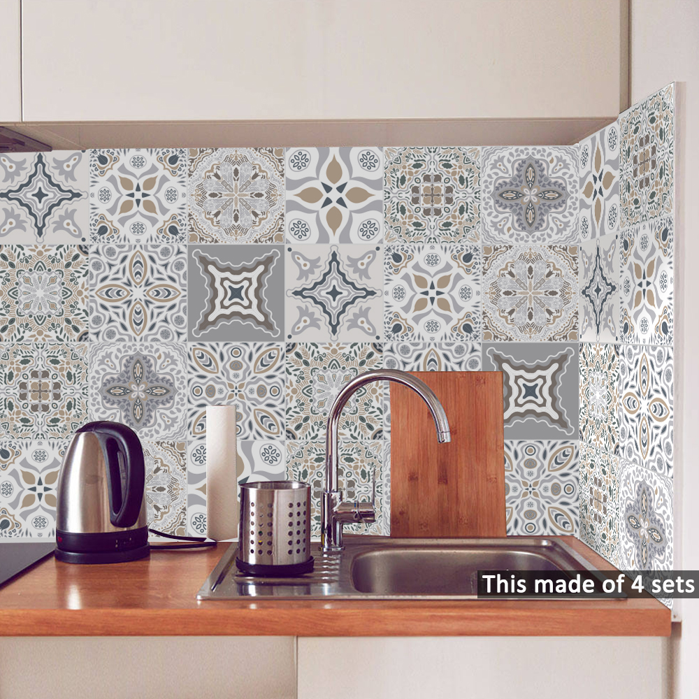 Funlife 15*15cm/20*20cm Retro DIY PVC Waterproof Self adhesive Wall Decals Art Furniture Bathroom Kitchen Tile Sticker TS060