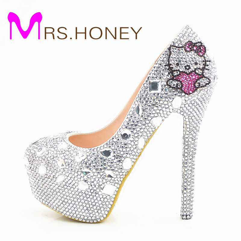 2016 New Fashion Sexy Women Silver Rhinestone Wedding Shoes Round Toe Gorgeous Prom Event Pumps Plus Size 44 Bridesmaid Shoes цены онлайн