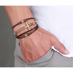 Vnox Genuine Real Leather Cross Bracelets & Bangles For Women Men Jewelry Size Adjustable Bohemia Rope Chain Leather Bracelet