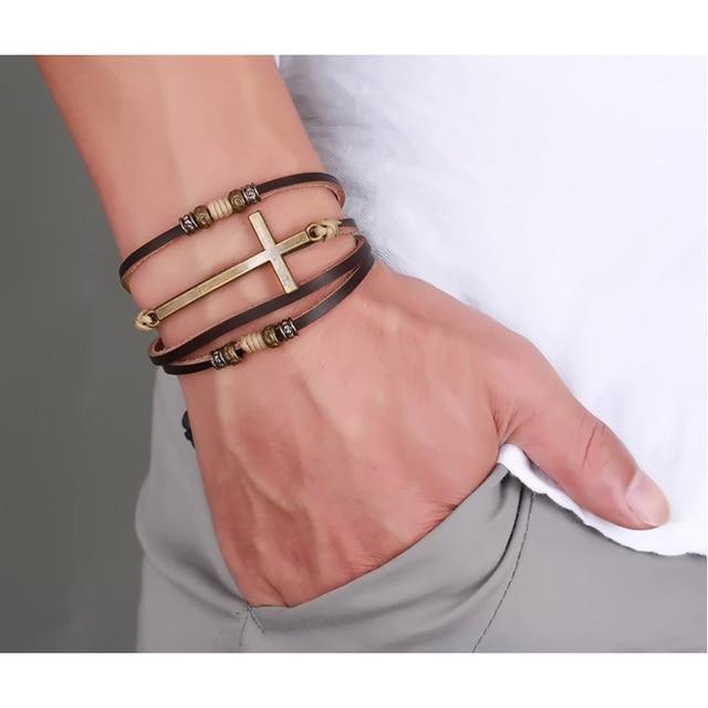 Vnox кожа Крест Браслеты для Для женщин Для мужчин Jewelry Размеры Регулируемый Богемия Веревка Цепи кожаный браслет