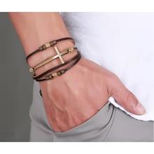 Vnox Leather Cross Bracelets & Bangles For Women Men Jewelry Size Adjustable Bohemia Rope Chain Leather Bracelet