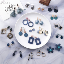 AOMU New Fashion Blue Grey Geometric Square Round Acrylic Long Drop Earrings Metal Acetic Acid Stone for Women Girl