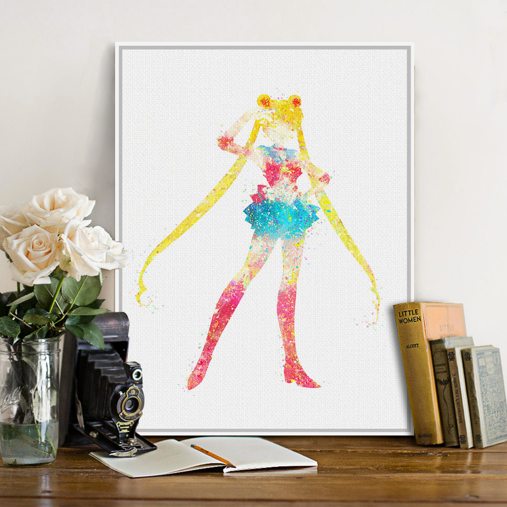 original watercolor sailor moon pop japanese movie anime poster