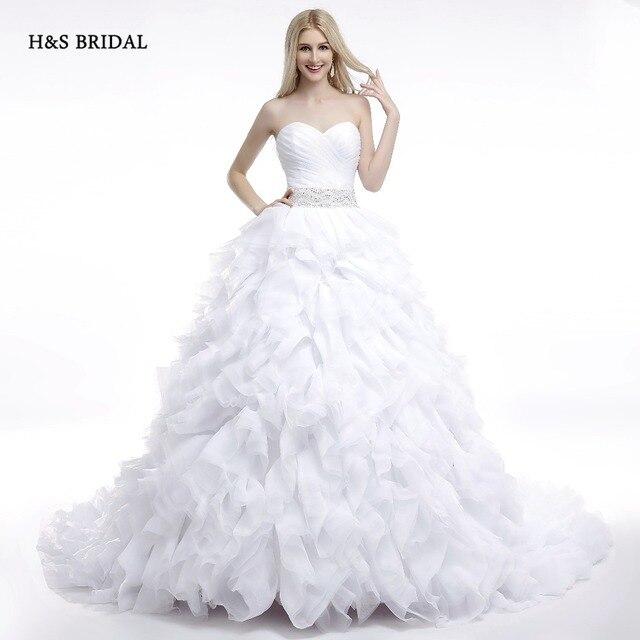 H & BRIDAL 2017 Real Model Weiß Rüschen Schatz Ballkleid ...