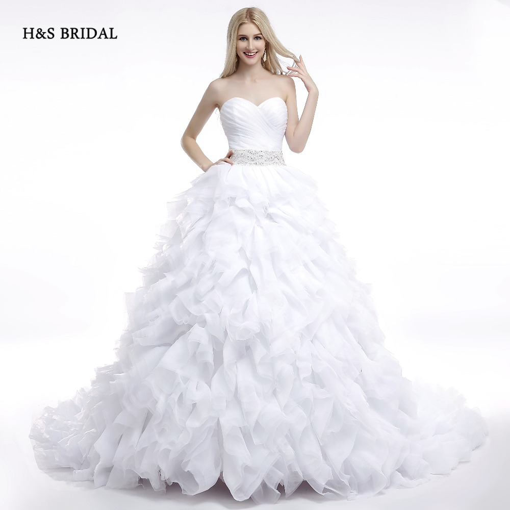 H&S BRIDAL 2017 Real Model White Ruffles Sweetheart Ball