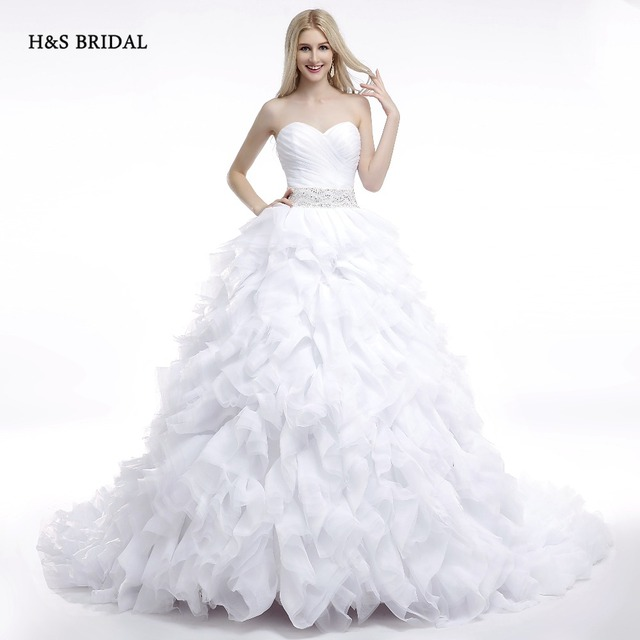 H&S BRIDAL 2017 Real Model White Ruffles Sweetheart Ball Gown ...