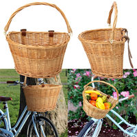 Vintage Wicker Bicycle Basket With Brown Leather Straps Lightweight Cycling Basket Mountain Bike Shopping Trolley 35x26x22cm