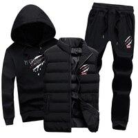 Толстовка с капюшоном мужской спортивный костюм из 3 предметов, брендовый теплый жилет с капюшоном, спортивная одежда, мужской спортивный к